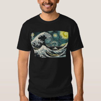 Van Gogh The Starry Night - Hokusai The Great Wave Tees