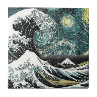 Van Gogh The Starry Night - Hokusai The Great Wave Tile