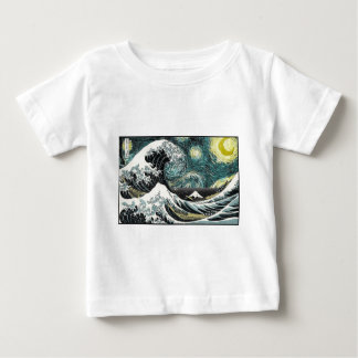 Van Gogh The Starry Night - Hokusai The Great Wave Tshirts