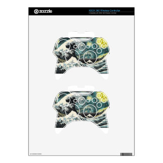 Van Gogh The Starry Night - Hokusai The Great Wave Xbox 360 Controller Decal