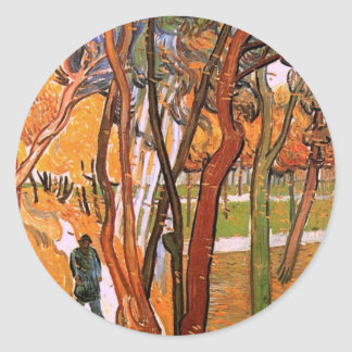 Van Gogh The Walk: Falling Leaves, Vintage Art Classic Round Sticker