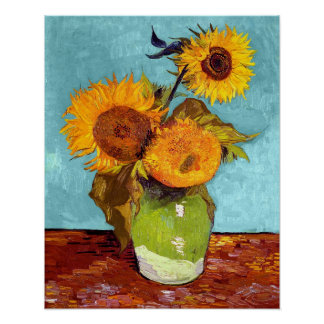 Van Gogh - Three Sunflowers In A Vase - Fine Art Poster