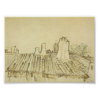Van Gogh Tiled Roof with Chimneys and Church Tower Poster