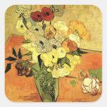 Van Gogh; Todavía anémonas japonesas de los rosas Pegatina Cuadradas