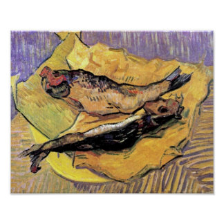Van Gogh - todavía arenques ahumados de la vida en Póster