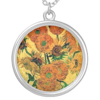Van Gogh - todavía florero de la vida con quince Colgante Redondo