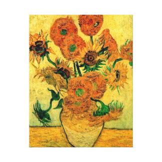 Van Gogh - todavía florero de la vida con quince Lona Estirada Galerias