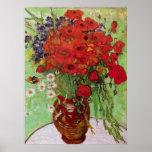 Van Gogh; Todavía vida: Amapolas y margaritas roja Poster