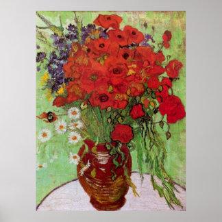 Van Gogh Todavía vida Amapolas y margaritas roja Poster