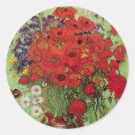 Van Gogh; Todavía vida: Amapolas y margaritas roja Etiqueta Redonda
