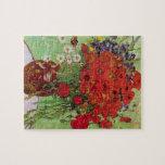Van Gogh; Todavía vida: Amapolas y margaritas roja Rompecabezas