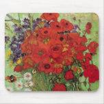 Van Gogh; Todavía vida: Amapolas y margaritas roja Alfombrilla De Ratón