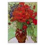 Van Gogh; Todavía vida: Amapolas y margaritas roja Tarjeton