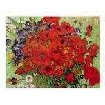 Van Gogh; Todavía vida: Amapolas y margaritas roja Tarjeta Postal