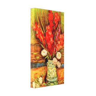Van Gogh - todavía vida con gladiolas rojos Impresión De Lienzo