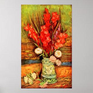 Van Gogh - todavía vida con gladiolas rojos Impresiones