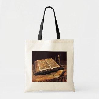 Van Gogh - todavía vida con la biblia Bolsa Tela Barata