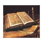 Van Gogh - todavía vida con la biblia Lona Estirada Galerías