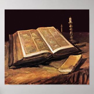 Van Gogh - todavía vida con la biblia Póster