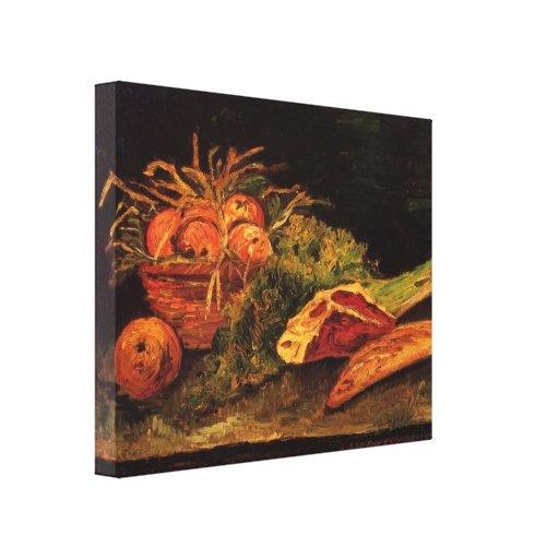 Van Gogh - todavía vida con la carne de las manzan Lona Envuelta Para Galerias