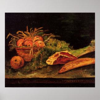 Van Gogh - todavía vida con la carne de las manzan Posters