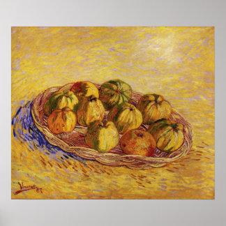 Van Gogh - todavía vida con la cesta de manzanas Impresiones