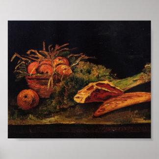 Van Gogh - todavía vida con las manzanas, la carne Impresiones