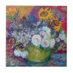 Van Gogh - todavía vida con los rosas y los giraso Tejas