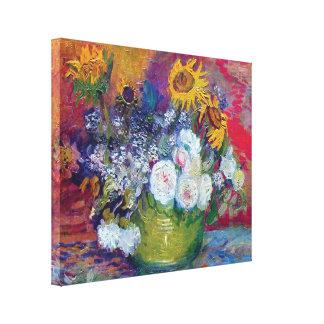 Van Gogh - todavía vida con los rosas y los giraso Impresiones En Lona Estiradas