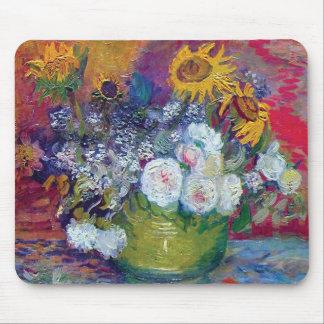 Van Gogh - todavía vida con los rosas y los giraso Tapete De Ratones