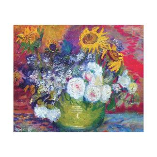 Van Gogh - todavía vida con los rosas y los Impresiones De Lienzo