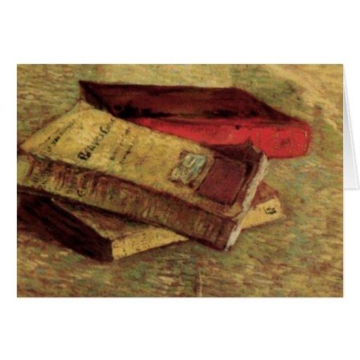 Van Gogh; Todavía vida con tres libros, arte del Tarjeta