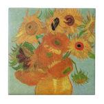 Van Gogh; Todavía vida: Florero con 12 girasoles Azulejo Cerámica