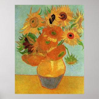 Van Gogh; Todavía vida: Florero con 12 girasoles Posters