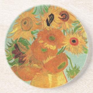 Van Gogh Todavía vida Florero con 12 girasoles Posavasos Personalizados