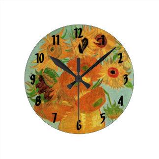 Van Gogh; Todavía vida: Florero con 12 girasoles Reloj De Pared