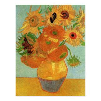 Van Gogh Todavía vida Florero con 12 girasoles Tarjetas Postales