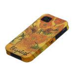 Van Gogh; Todavía vida: Florero con 15 girasoles iPhone 4/4S Fundas