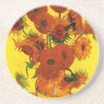 Van Gogh; Todavía vida: Florero con 15 girasoles Posavasos Personalizados