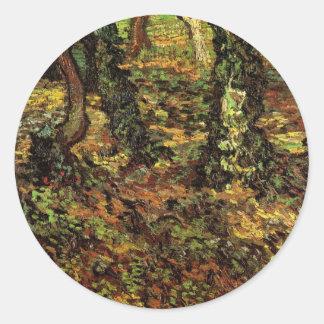 Van Gogh Tree Trunks w Ivy, Vintage Impressionism Classic Round Sticker