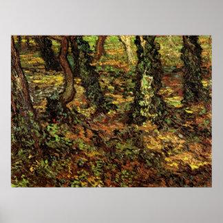 Van Gogh Tree Trunks w Ivy, Vintage Impressionism Poster