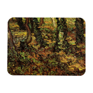 Van Gogh Tree Trunks w Ivy, Vintage Impressionism Rectangular Photo Magnet