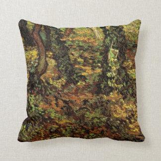 Van Gogh Tree Trunks w Ivy, Vintage Impressionism Throw Pillow