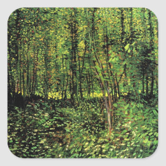 Van Gogh Trees and Undergrowth, Vintage Fine Art Square Sticker