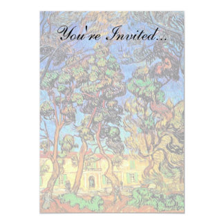 Van Gogh - Trees In The Garden of St Paul Hospital 5x7 Paper Invitation Card