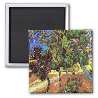 Van Gogh - Trees In The Garden of St Paul Hospital 2 Inch Square Magnet