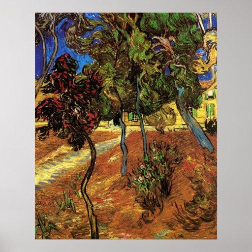 Van Gogh Trees in the Garden, Saint Paul Hospital Poster