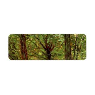Van Gogh Trees Undergrowth, Vintage Impressionism Label