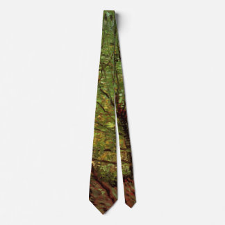 Van Gogh Trees Undergrowth, Vintage Impressionism Neck Tie