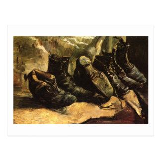 Van Gogh tres pares de zapatos Tarjetas Postales